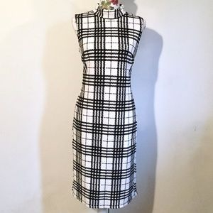Black White Plaid Grid Sheath Office Work Dress